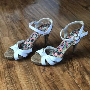 White Cork Sandal Heels